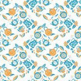 Seamless pattern in lino style, teapots anf leaves Royalty Free Stock Photo