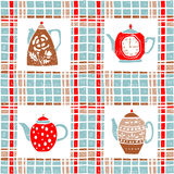 Seamless pattern in lino style, teapots, pastel Royalty Free Stock Images