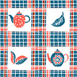 Seamless pattern in lino style, teapots and plaid Stock Images