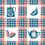 Seamless pattern in lino style, teapots and plaid Stock Photography