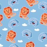 Seamless pattern with lion and elephant. Cute cartoon vector seamless pattern with lion and elephant Stock Photo