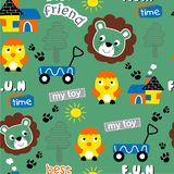 Seamless pattern,lion and friend funny animal cartoon,vector illustration. Seamless pattern funny animal cartoon,vector illustration for t shirt and wallpaper or royalty free illustration