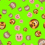 Seamless pattern of lion head pigs and owls vector illustration