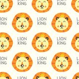 Seamless pattern with lions. Seamless pattern with cartoon lions heads stock illustration