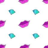 Seamless pattern of lips and diamond Stock Photography