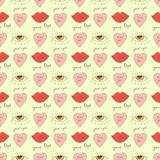 Seamless pattern with lips, hearts, eyes and romantic inscriptions about love drawn in the style of doodle. Royalty Free Stock Photography