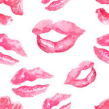 Seamless pattern with a lipstick kiss prints Stock Image