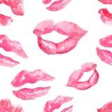 Seamless pattern with a lipstick kiss prints Stock Image