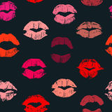 Seamless pattern with lipstick kisses. Royalty Free Stock Photography