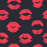 Seamless pattern with lipstick kisses. Stock Images