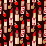 Seamless pattern with lipstick and nail varnishes Royalty Free Stock Image
