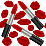 Seamless pattern with lipsticks and lips Stock Photos
