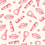 Seamless pattern. Lipsticks, lips and nail polish Royalty Free Stock Images