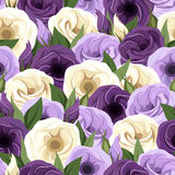 Seamless pattern with lisianthus flowers. Royalty Free Stock Images