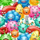 Seamless pattern with little angry viruses. Seamless pattern with little angry viruses, microbes and monsters vector illustration