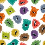 Seamless pattern with little angry viruses and Stock Images
