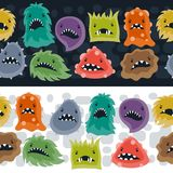 Seamless pattern with little angry viruses and Royalty Free Stock Photos