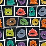 Seamless pattern with little angry viruses and Royalty Free Stock Photography