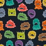 Seamless pattern with little angry viruses and Royalty Free Stock Image