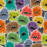 Seamless pattern with little angry viruses and Stock Image