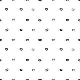 Seamless pattern with little black hand drawn hearts in grunge style. Vector illustration.  Royalty Free Illustration