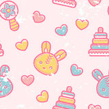 Seamless pattern with little bunnies and pyramid toys. In cute childish style. Happy babyish color palette (pale pink, blue and yellow stock illustration