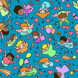 Seamless pattern of little cartoon angels with heart, balloon Royalty Free Stock Images