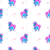 Seamless pattern with little cartoon blue pony Stock Photo