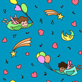 Seamless pattern of little cartoon flying angels with heart Stock Photo