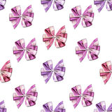 Seamless pattern - Little cute bows and ribbons in vivid and bright colors on a White background Stock Images