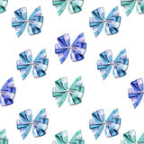 Seamless pattern - Little cute bows and ribbons in vivid and bright colors on a White background Stock Photos