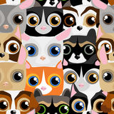 Seamless pattern with little cute and funny pets Royalty Free Stock Photography