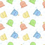 A seamless pattern with little cute monsters for textiles, clothes or scrapbooking. Vector illustration Stock Photography