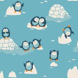 Seamless pattern with little cute penguins Royalty Free Stock Photography