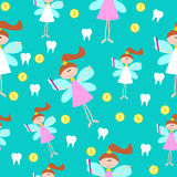 Seamless Pattern with Little Cute Tooth Fairy with Teeth. And Coins. Vector Background Royalty Free Stock Image