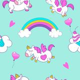 Seamless pattern. Little cute unicorns with wings flying through the sky among clouds and rainbows. Children`s pattern. Vector ill stock illustration