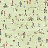 Seamless pattern with little dog walkers Stock Photos