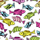 Seamless pattern with little fishes Royalty Free Stock Image