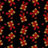 Seamless pattern with little gift embroidery stitches imitation. On the black background. Holiday embroidery background Stock Images