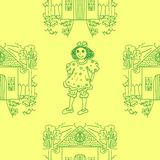 Seamless pattern with little girls.  illustration. Stock Photos