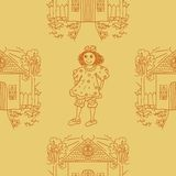 Seamless pattern with little girls. Vector illustration. Royalty Free Stock Photos