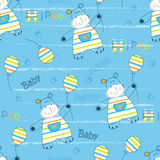Seamless pattern with little hippo Royalty Free Stock Images