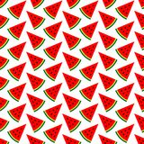 Seamless Pattern Melon Pieces Red Green Black stock illustration