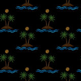 Seamless pattern with little palm tree with water wave and sun  Royalty Free Stock Images