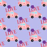 Seamless pattern with little pink car Royalty Free Stock Photography