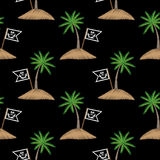 Seamless pattern with little pirate flag and palm tree embroider Stock Photography