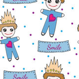 Seamless pattern with little prince toy on crone and with heart Royalty Free Stock Photo