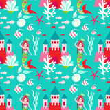 Seamless pattern with little princess mermaid with castle. Stock Photography
