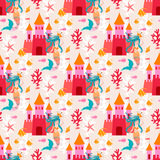 Seamless pattern with little princess mermaid with castle. Royalty Free Stock Photos