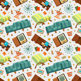 Seamless pattern with the living room stuff Stock Photos